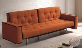 Canapé lit vintage tissu orange - Marlon