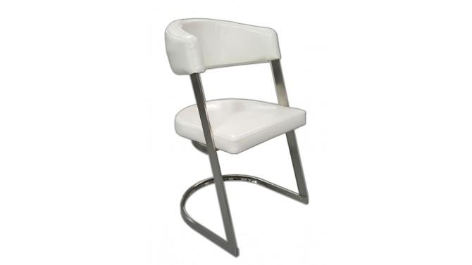 Chaise design en simili cuir blanc - Aron