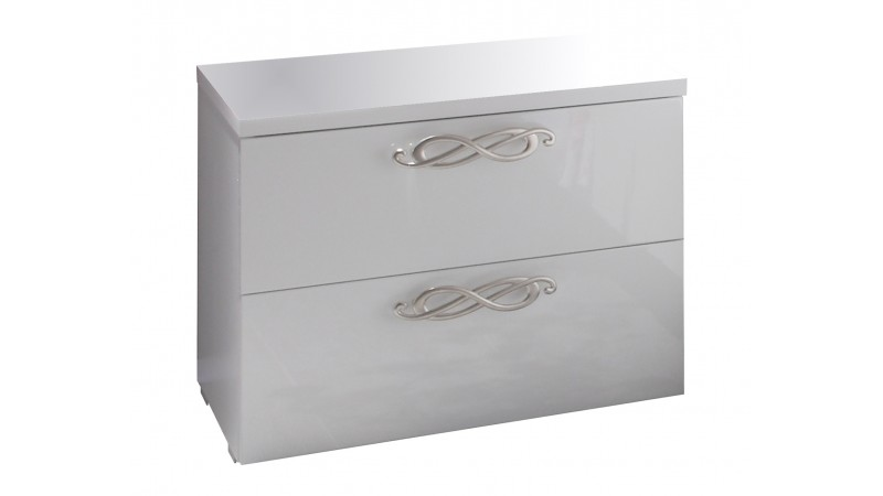 Chevet laqu blanc 2 tiroirs poign es chrom es lola gdegdesign - Chevet design blanc laque ...