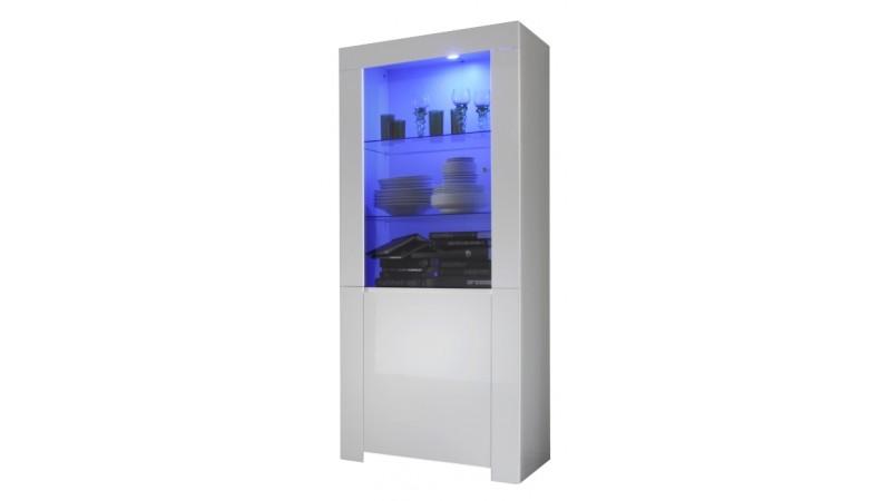 vitrine design 2 portes lumineuse laqu e blanche naomi. Black Bedroom Furniture Sets. Home Design Ideas