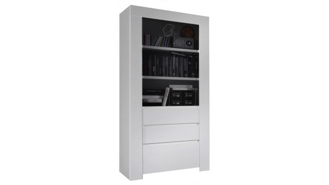 Vitrine design 1 porte et 2 tiroirs laqu e blanche naomi gdegdesign - Porte laquee blanche ...