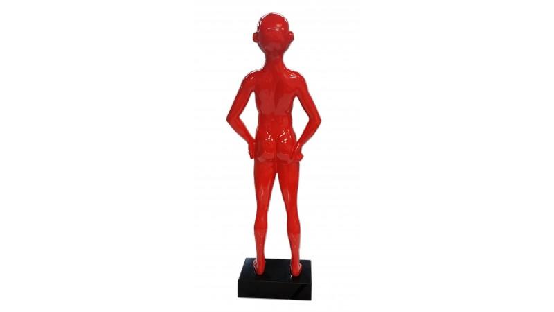 Statue homme rieur laugh laqu e rouge avec pied de couleur noir gdegdesign - Statue resine design ...