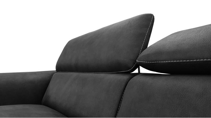 Canap 3 places design terzo en tissu noir imitation cuir gdegdesign - Tissu imitation cuir capitonne ...