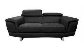 Canapé 2 places noir tissu imitation cuir - Terzo