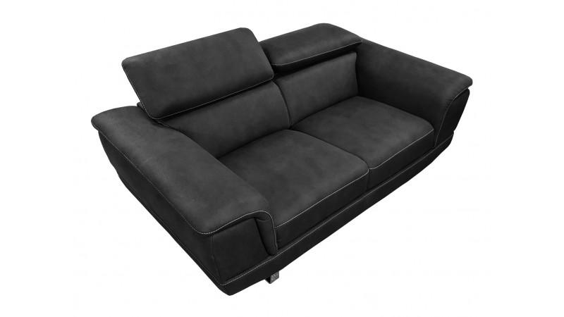 Canap design 2 places noir en tissu imitation cuir terzo for Canape 2 places noir