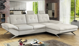 Canapé d'angle convertible tissu dossiers réglables - Kimi