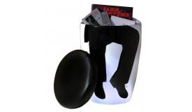 Pouf blanc en cuir simili noir avec silhouette homme - Toledo