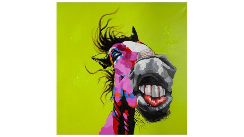 Toile tableau carr honolulu t te de cheval sur fond vert - Peinture sur toile design ...