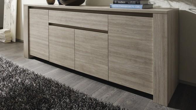 Buffet bois 4 portes + 1 tiroir plateau ardoise - Aspar