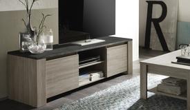 Meuble TV bois avec plateau ardoise - Aspar
