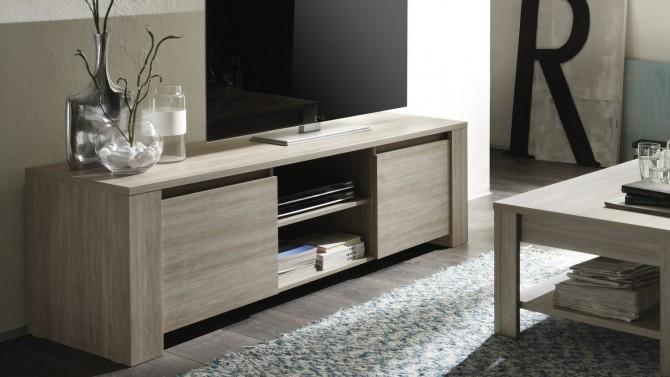 Banc TV contemporain bois, avec plateau ardoise Aspar - GdeGdesign