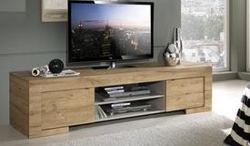 Meuble TV design bois 2 portes 190 cm - Karel