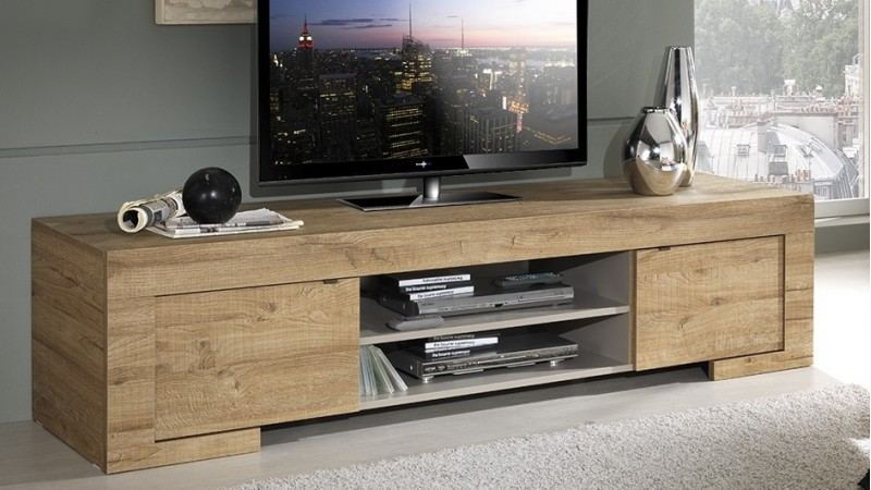 meuble tv design bois 190 cm 2 portes et 2 niches karel gdegdesign. Black Bedroom Furniture Sets. Home Design Ideas