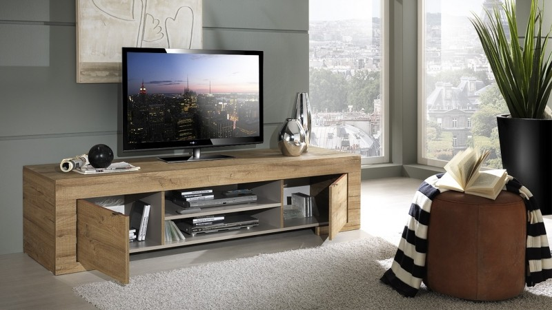 Meuble Tv Design Bois 190 Cm 2 Portes Et 2 Niches Karel Gdegdesign