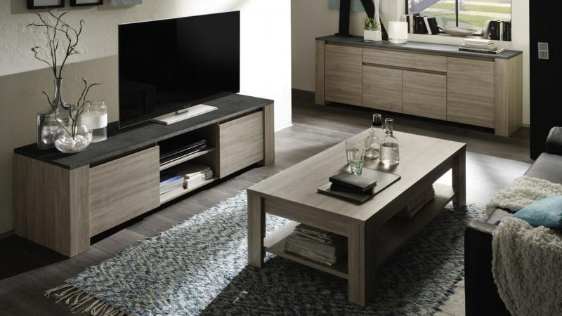 Table de salon rectangulaire bois avec plateau ardoise Aspar ...