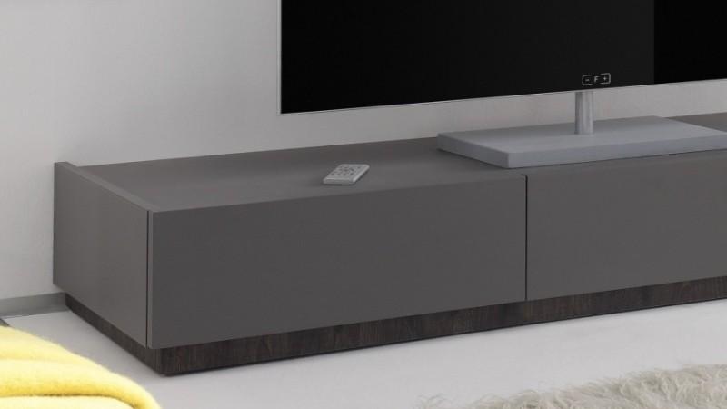 Meuble Tv Bas Design Laque Gris Mat Avec 3 Tiroirs Ivo Gdegdesign