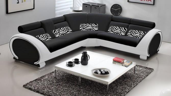 Canapé d'angle design + coussins zébrés - Elton