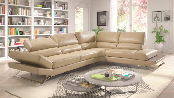 Canapé d'angle design cuir taupe - Areg