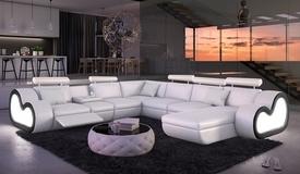 Canapé d'angle en cuir XXL lumineux - Atco