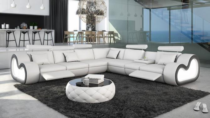 Canapé d'angle XL en cuir avec éclairage - Atco