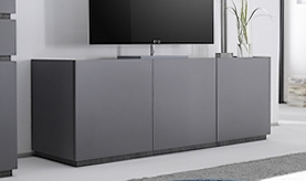 Meuble TV 3 portes gris mat design - Ivo