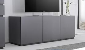 Meuble TV 3 portes gris mat design - Ivo