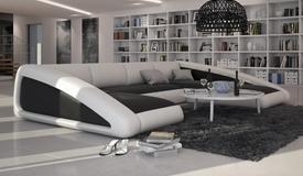 Canapé d'angle en cuir panoramique - Olten