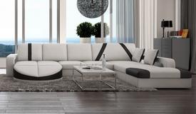 Canapé d'angle design cuir panoramique - Utena