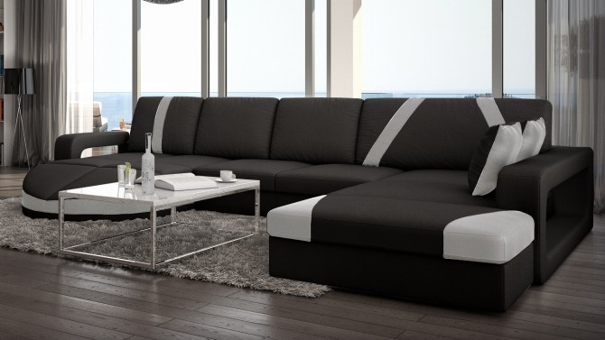 Canapé d'angle design en cuir - Utena
