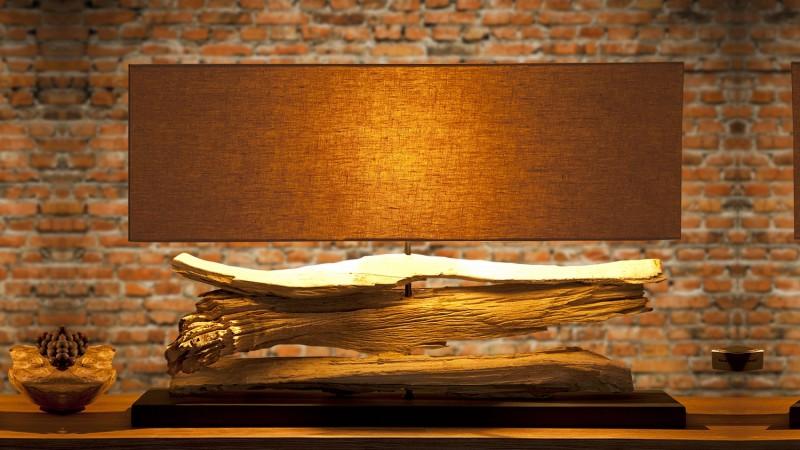 lampe design à poser rectangulaire avec bois flotté ronan - gdegdesign