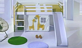 Lit enfant mezzanine avec toboggan - Tom