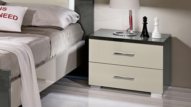 Chevet design bicolore 2 tiroirs - Oban