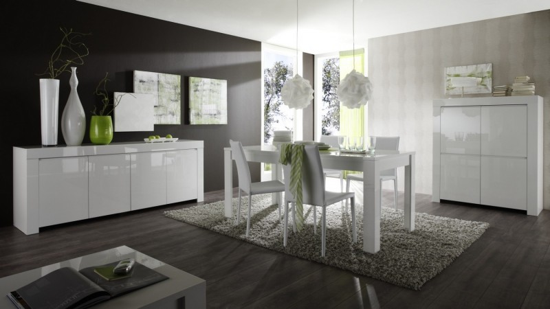 ensemble salle manger compl te laqu blanc design naomi gdegdesign. Black Bedroom Furniture Sets. Home Design Ideas
