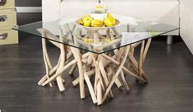 Table basse design en verre avec bois flotté - Clay