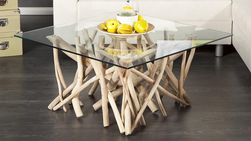 Table de salon carr e design en verre et bois flott clay gdegdesign - Chaise bois flotte ...