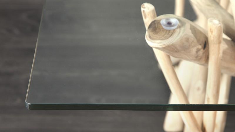 Table De Salon Carree Design En Verre Et Bois Flotte Clay Gdegdesign