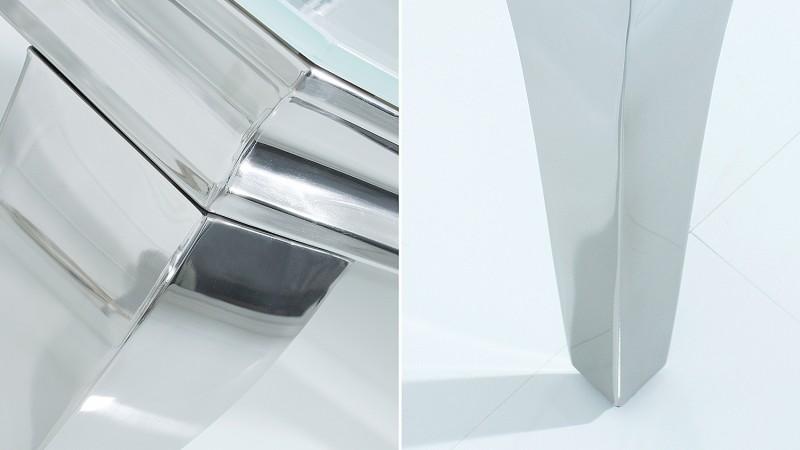 meuble tv baroque coloris blanc avec pieds chrom s zita. Black Bedroom Furniture Sets. Home Design Ideas