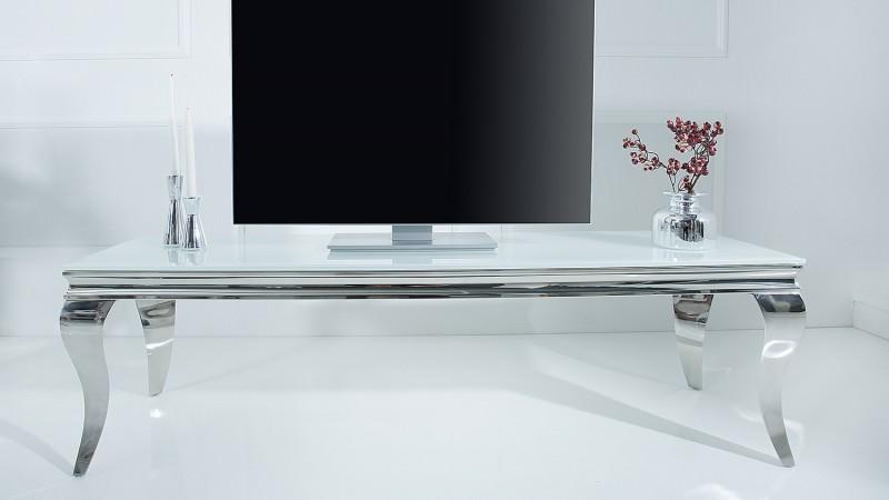 meuble tv baroque coloris blanc avec pieds chrom s zita gdegdesign. Black Bedroom Furniture Sets. Home Design Ideas
