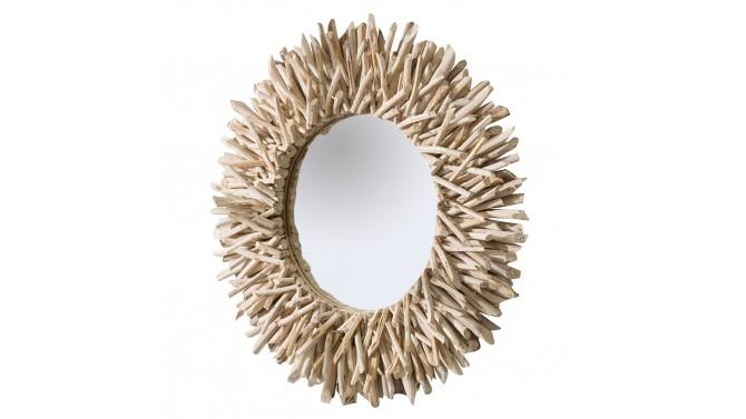 Miroir design rond avec bois flotté - Roy