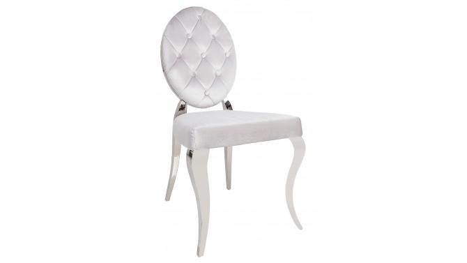 Chaise baroque médaillon gris argent - Zita