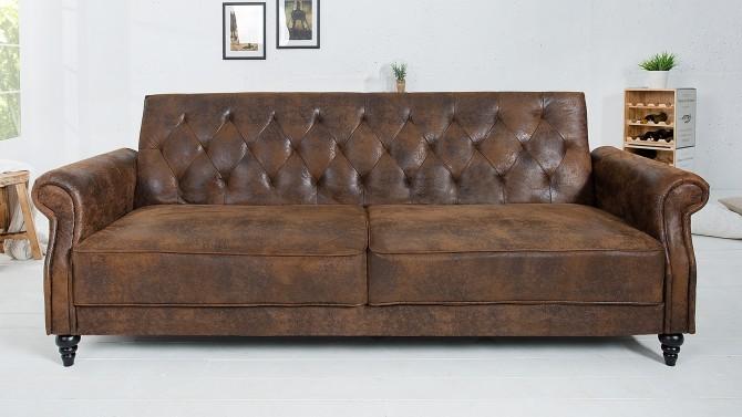 Canapé de salon industriel marron - Herman