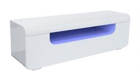 Meuble télé LED blanc 2 portes + 1 tiroir - Nao
