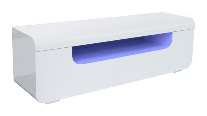 Meuble télé LED laqué blanc 2 portes + 1 tiroir - Nao