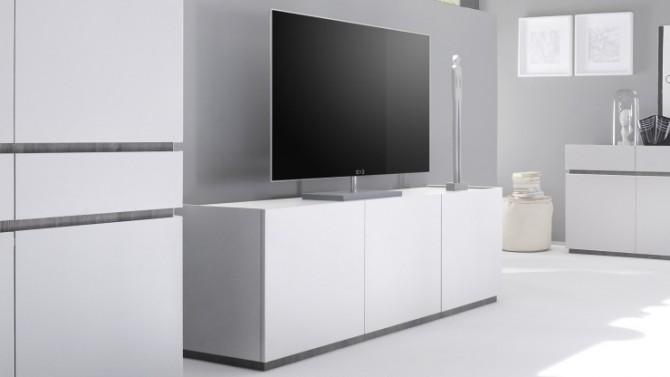 Meuble TV 3 portes laqué blanc mat - Ivo