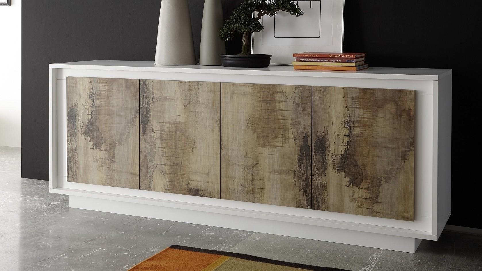 Buffet moderne laqué blanc mat 4 portes en bois Brann ...