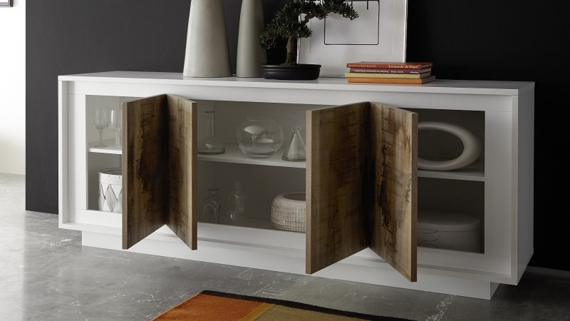 buffet moderne laqu blanc mat 4 portes en bois brann gdegdesign. Black Bedroom Furniture Sets. Home Design Ideas