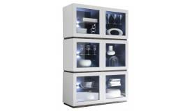Vitrine blanc mat 6 portes avec LED - Ivo