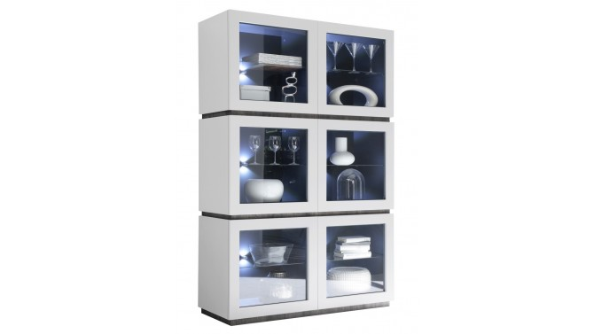 Argentier design blanc mat 6 portes avec LED - Ivo