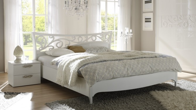 Lit baroque lumineux blanc 180x200 cm - Lola