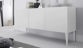 Buffet 3 portes design laqué blanc mat - Ivo